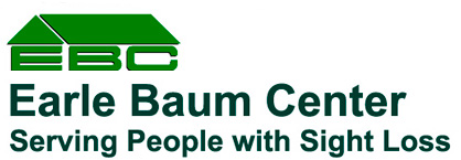 Earlebaum Center Logo comprised of a green roof covering the initials EBC, the words Earle Baum Center, and the tagline Serving People with Sight Loss